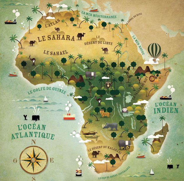 Mapa con la geografía de Africa, con él pueden darse una idea de la ubicación del Desierto del Sahara y por qué Mauritania es 70% desierto. Vía Cartographik.com