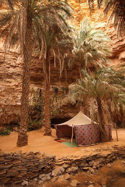 Tienda en oasis, Tarjit. Vía Raphael Bick