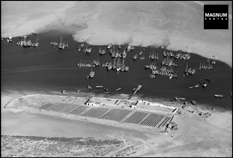 West Africa. MAURITANIA (Islamic Republic of Mauritania)Nouadhibou. Aerial view of the harbor and fish dryer sections.Friday, October 23, 1970