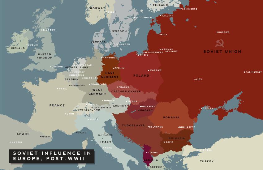 Influencia de la Unión de Repúblicas Soviéticas Socialistas en Europa después de la Segunda Guerra Mundial